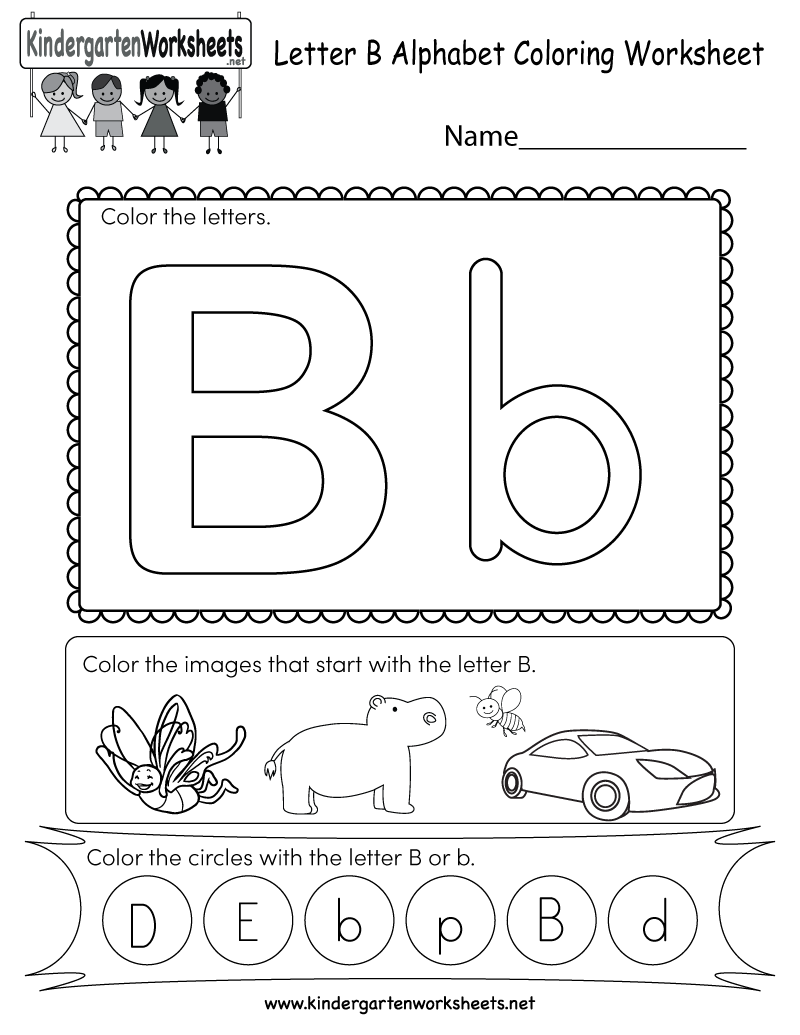 Free Printable Letter B Coloring Worksheet for Kindergarten | alphabet coloring worksheets for kindergarten