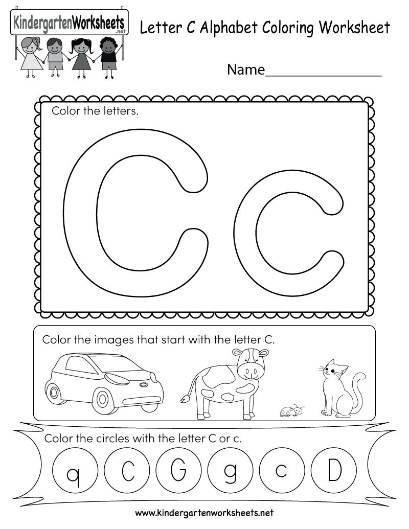 Letter C Coloring Worksheet Free Kindergarten English Worksheet
