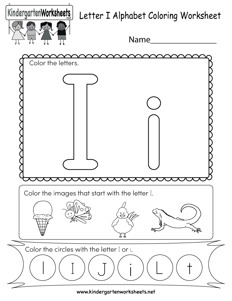 Free Printable Letter I Coloring Worksheet for Kindergarten | alphabet coloring worksheets for kindergarten
