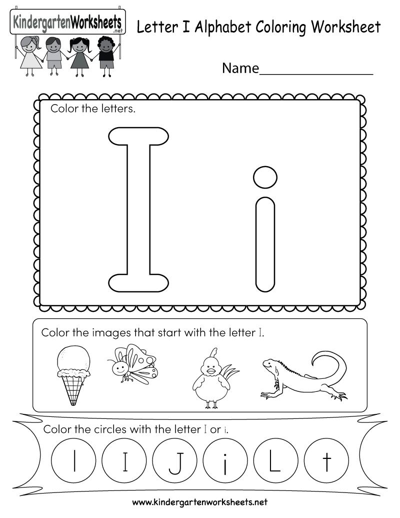 Free Printable Letter I Coloring Worksheet for Kindergarten | alphabet coloring worksheets for kindergarten
