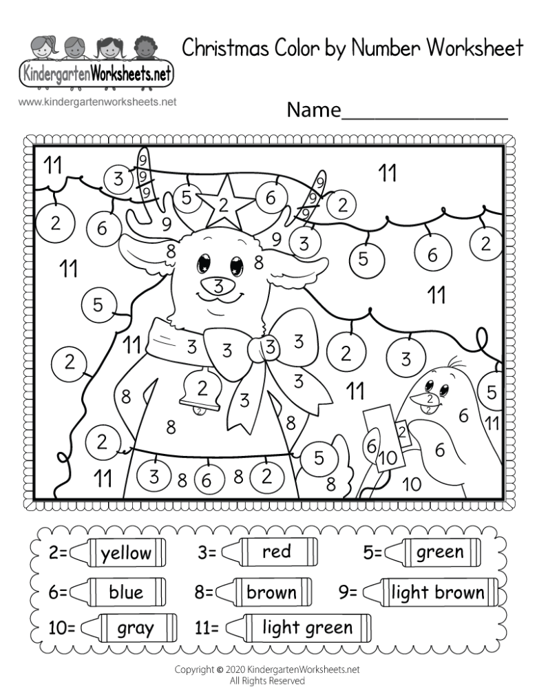 christmas coloring worksheet - free kindergarten holiday worksheet