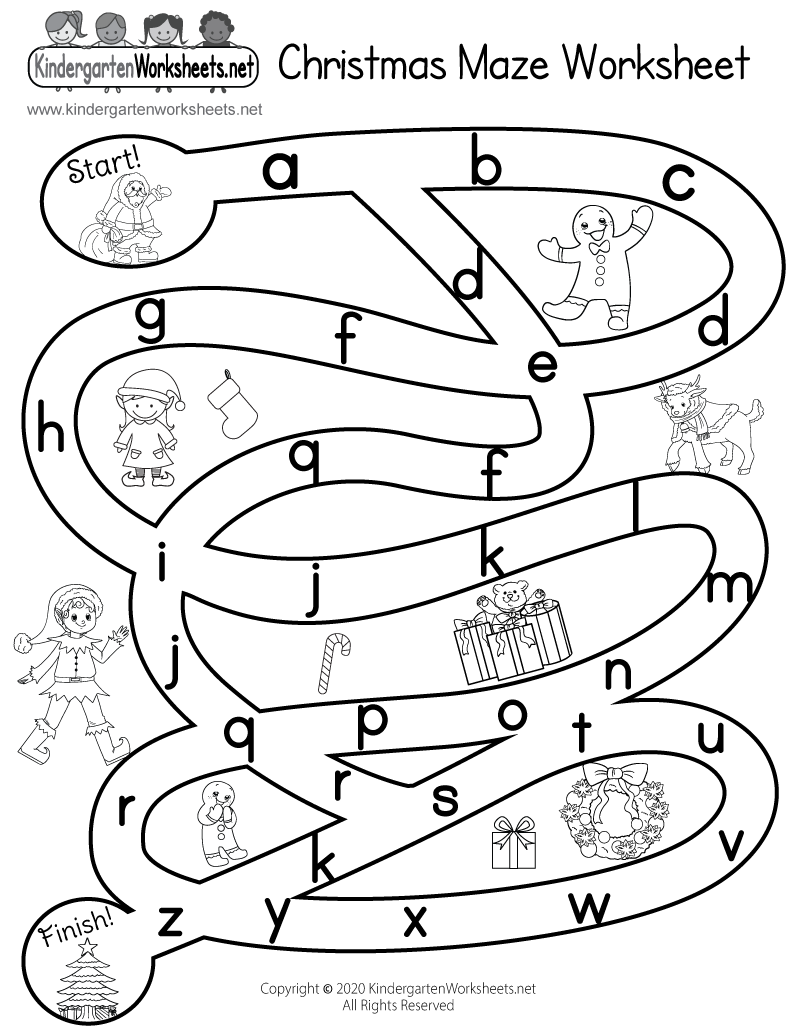 Christmas Maze Worksheet Free Kindergarten Holiday Worksheet For Kids