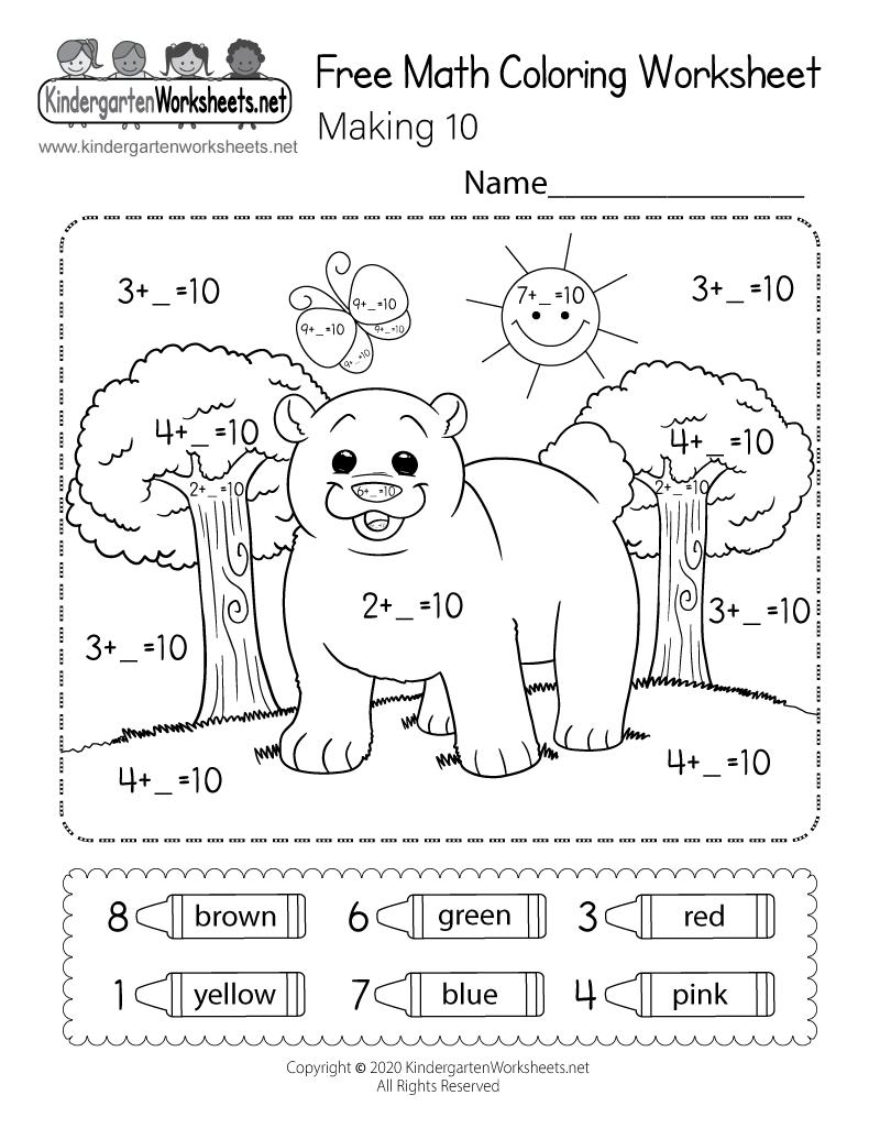 Free Math Coloring Worksheet For Kindergarten