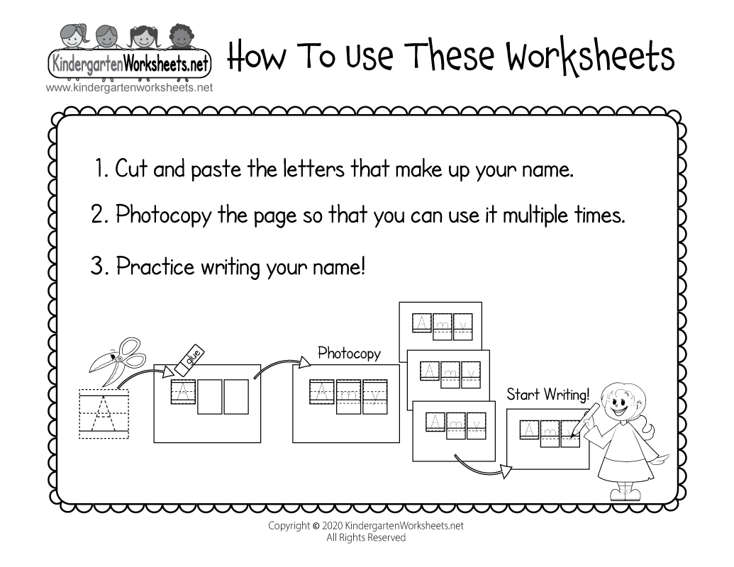 Name Writing Practice Worksheets For Kindergarten