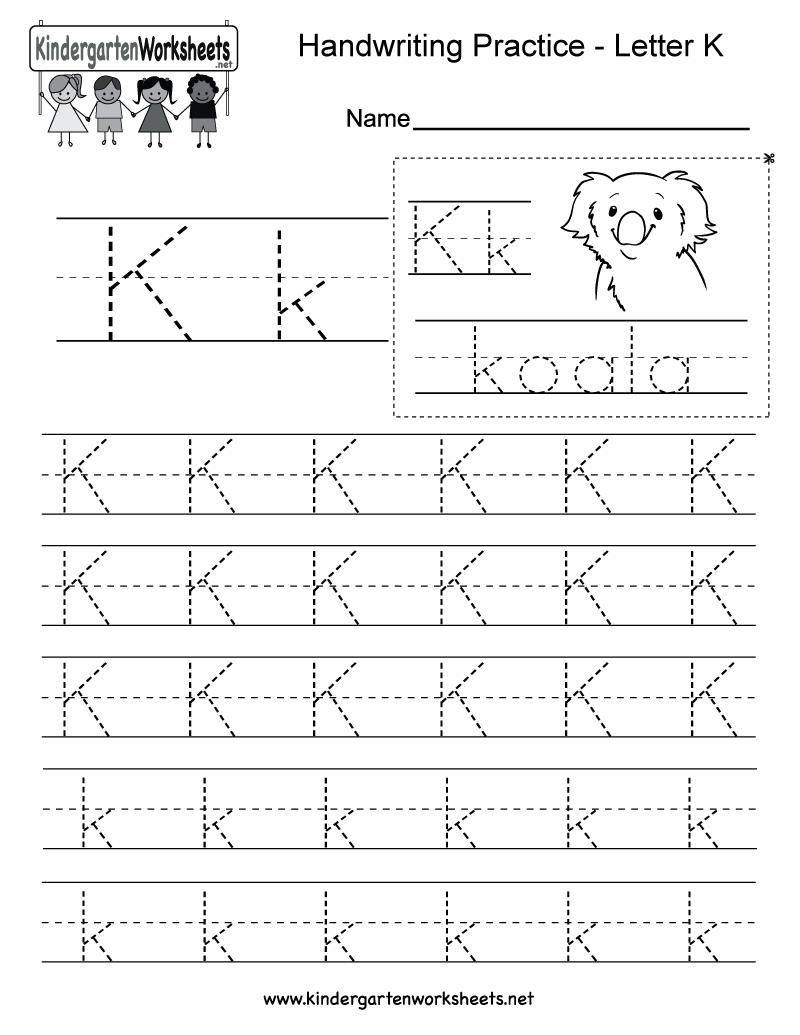 Free Printable Letter K Writing Practice Worksheet For
