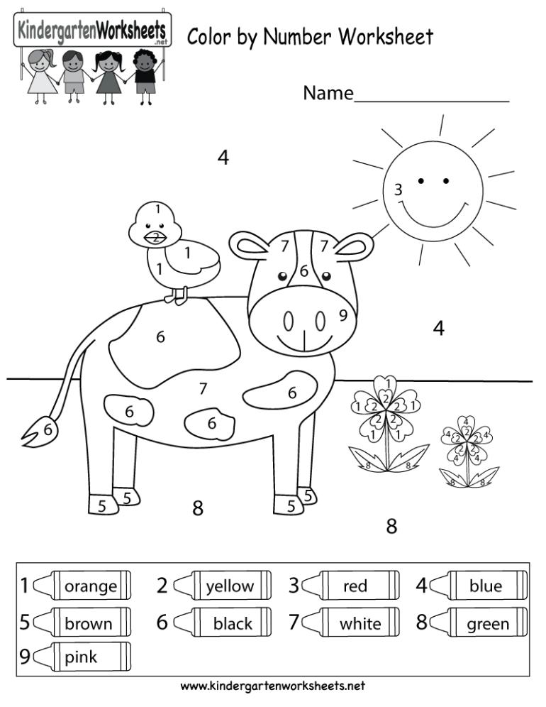 Color By Number Worksheet - Free Kindergarten Math ... | number coloring worksheets for kindergarten