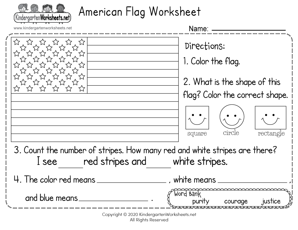 American Flag Worksheet For Kindergarten