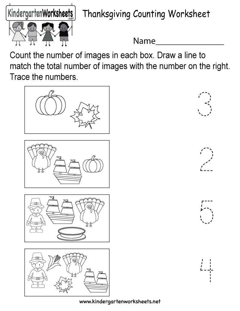 Thanksgiving Counting Worksheet Free Kindergarten Holiday Worksheet For Kids