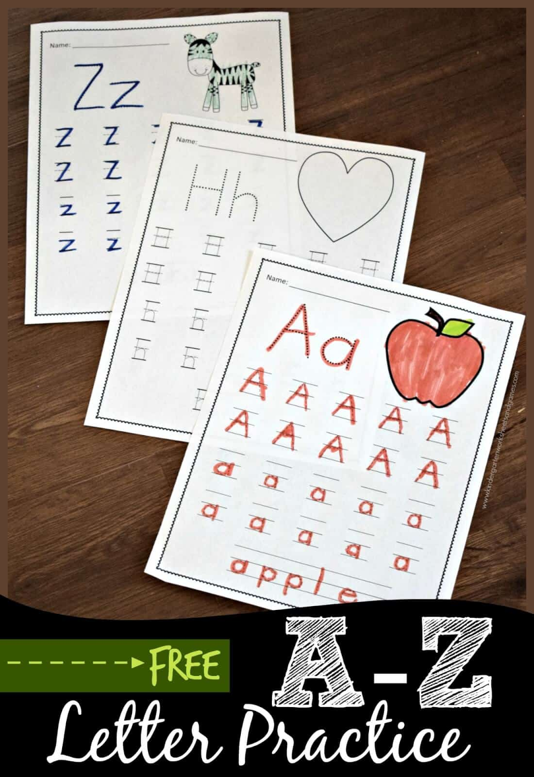 Free A To Z Letter Practice Kindergarten Worksheets And Games