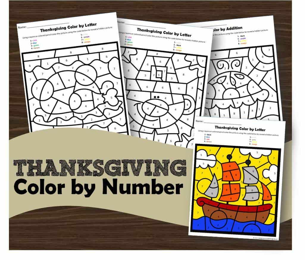 Free Thanksgiving Color By Number Kindergarten
