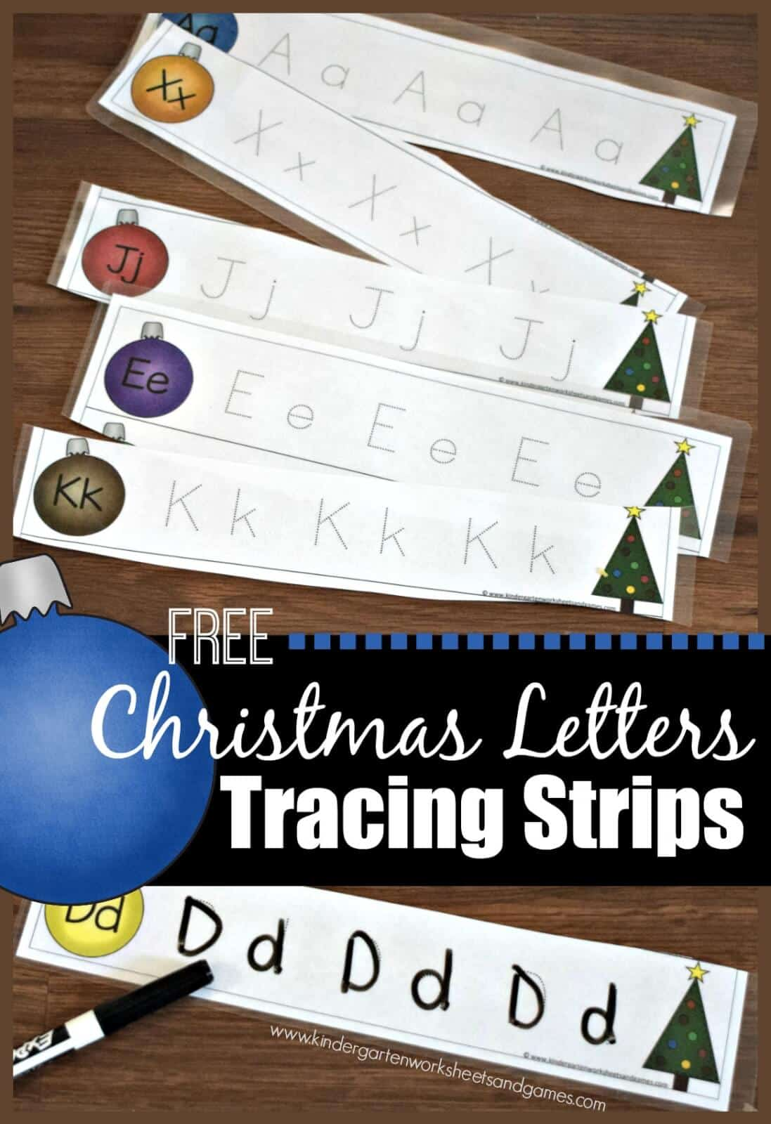 Christmas Letter Tracing Strips Kindergarten Worksheets And Games