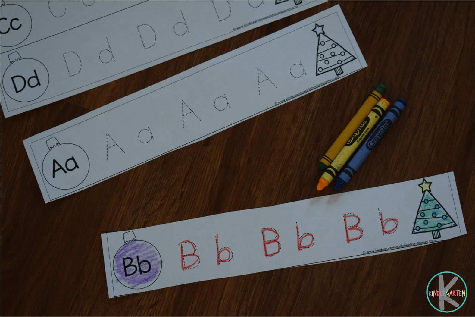 Christmas Letter Tracing Strips Kindergarten Worksheets