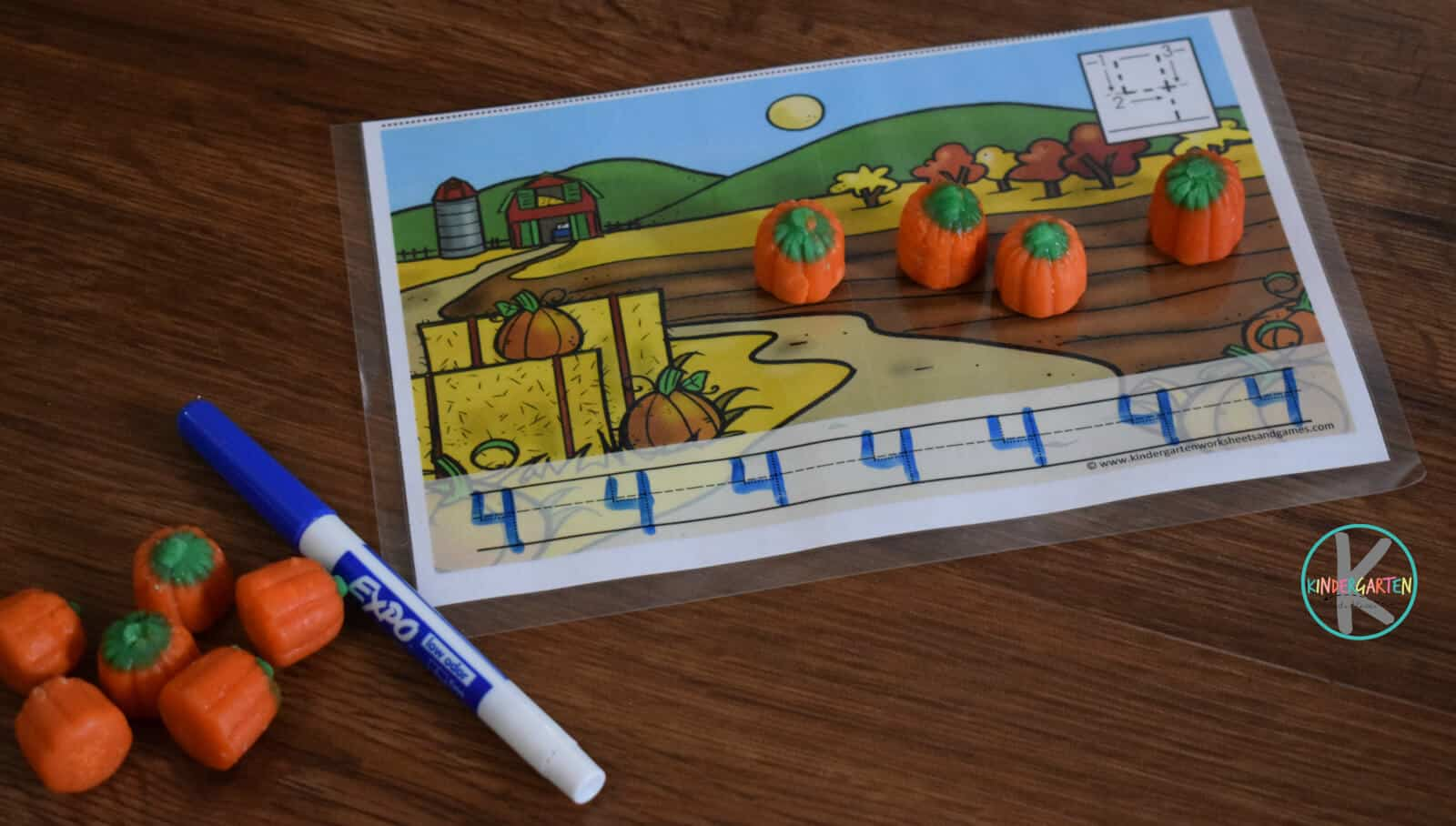 Pumpkin Candy Count Amp Trace Kindergarten Worksheets And