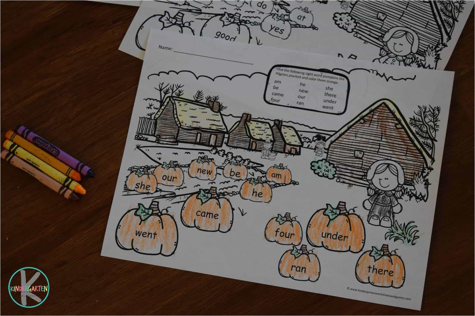 Thanksgiving Sight Words Coloring Pages