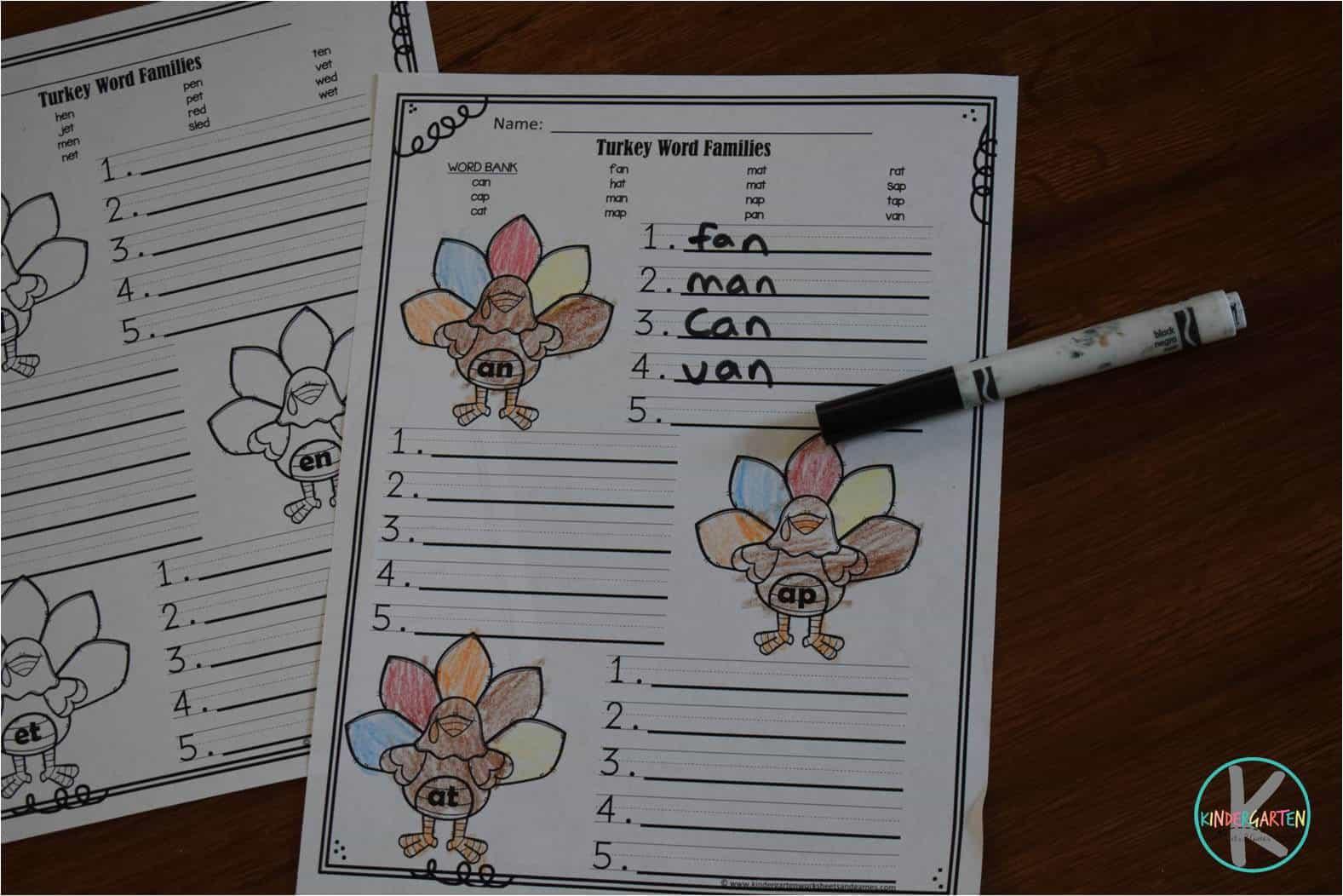 Og Word Family Worksheet Kindergarten