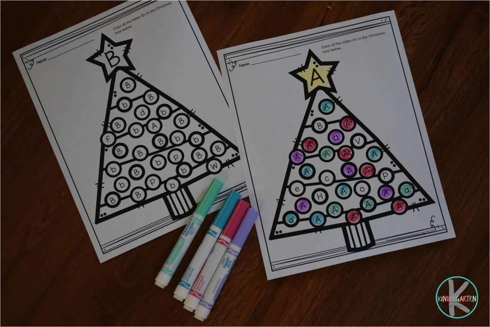 Christmas Tree Letter Find Worksheets