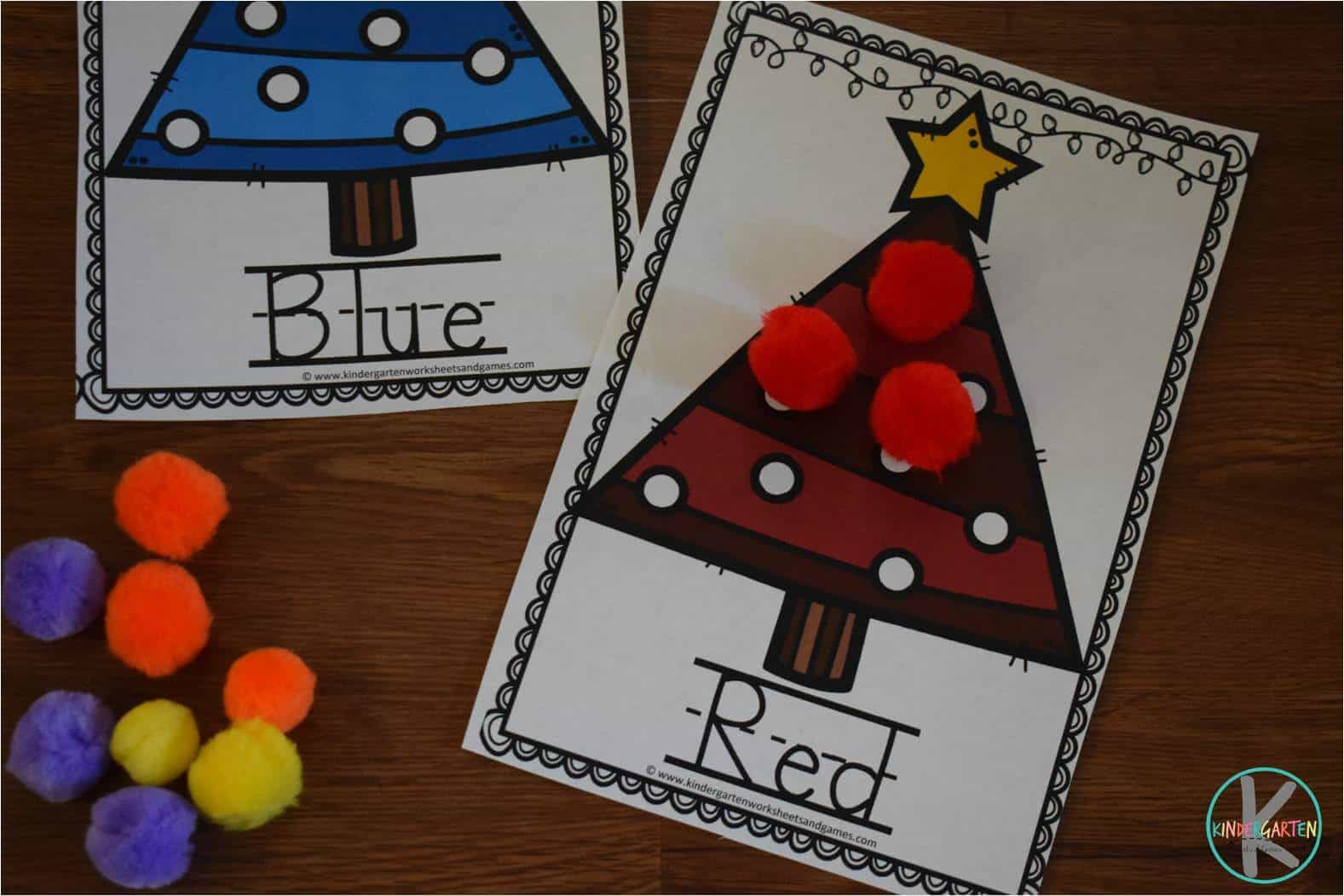 Free Christmas Tree Colors Activity Kindergarten