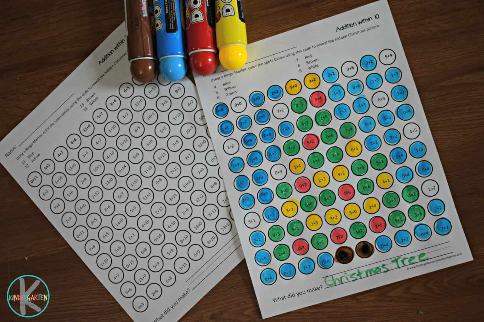 Bingo Dabber Christmas Math Worksheets Kindergarten