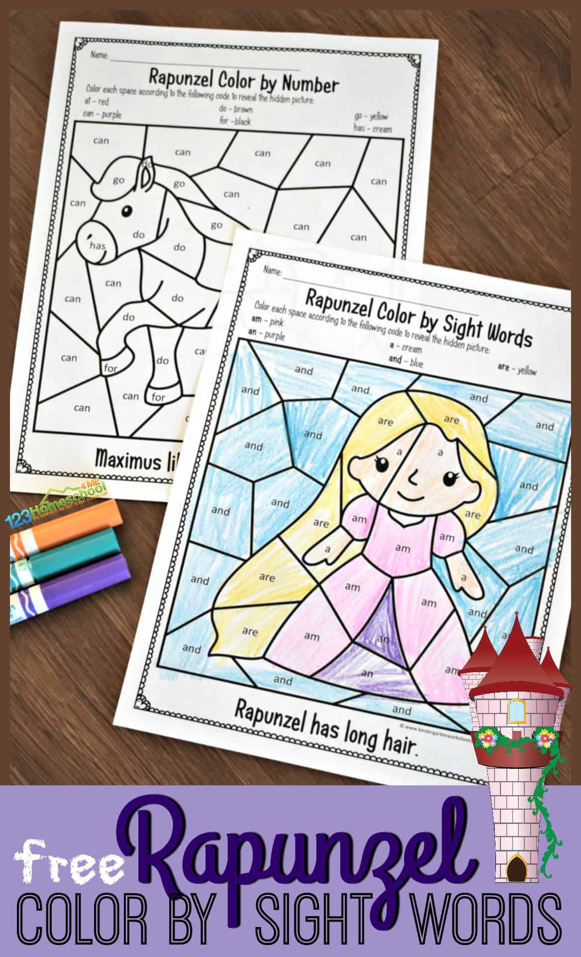 Free Rapunzel Sight Words Coloring