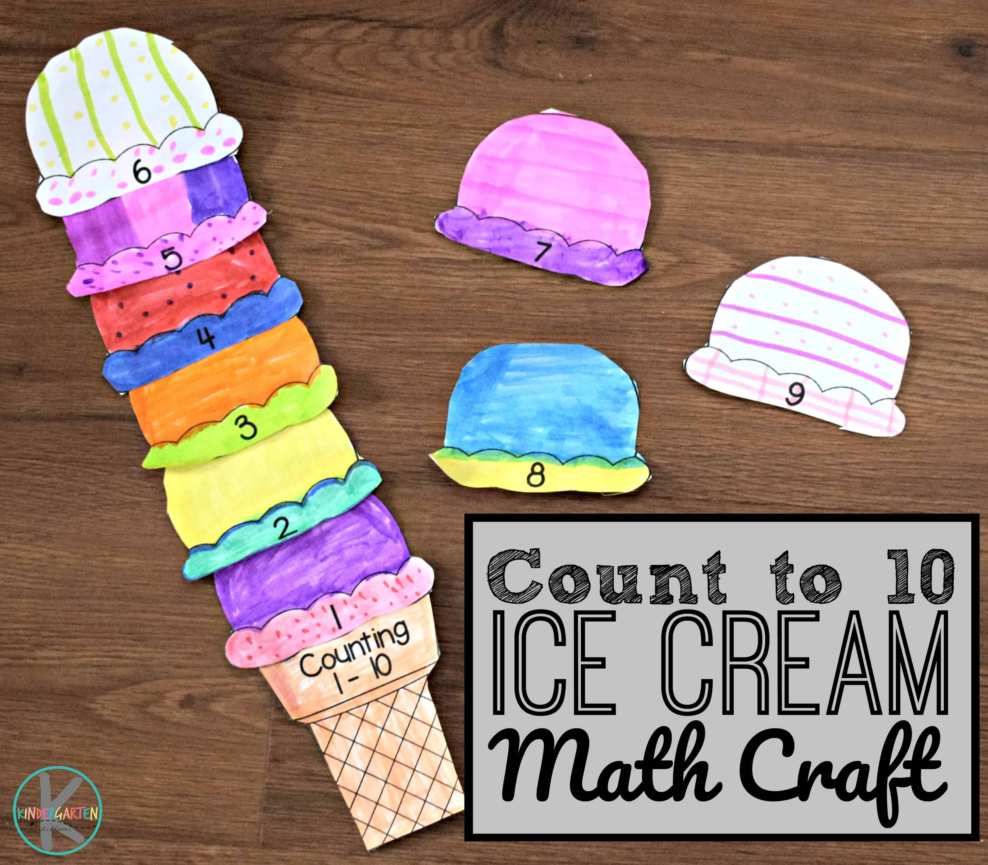 Count To 10 Ice Cream Math Craft Free Printable Kindergarten Worksheets And Games