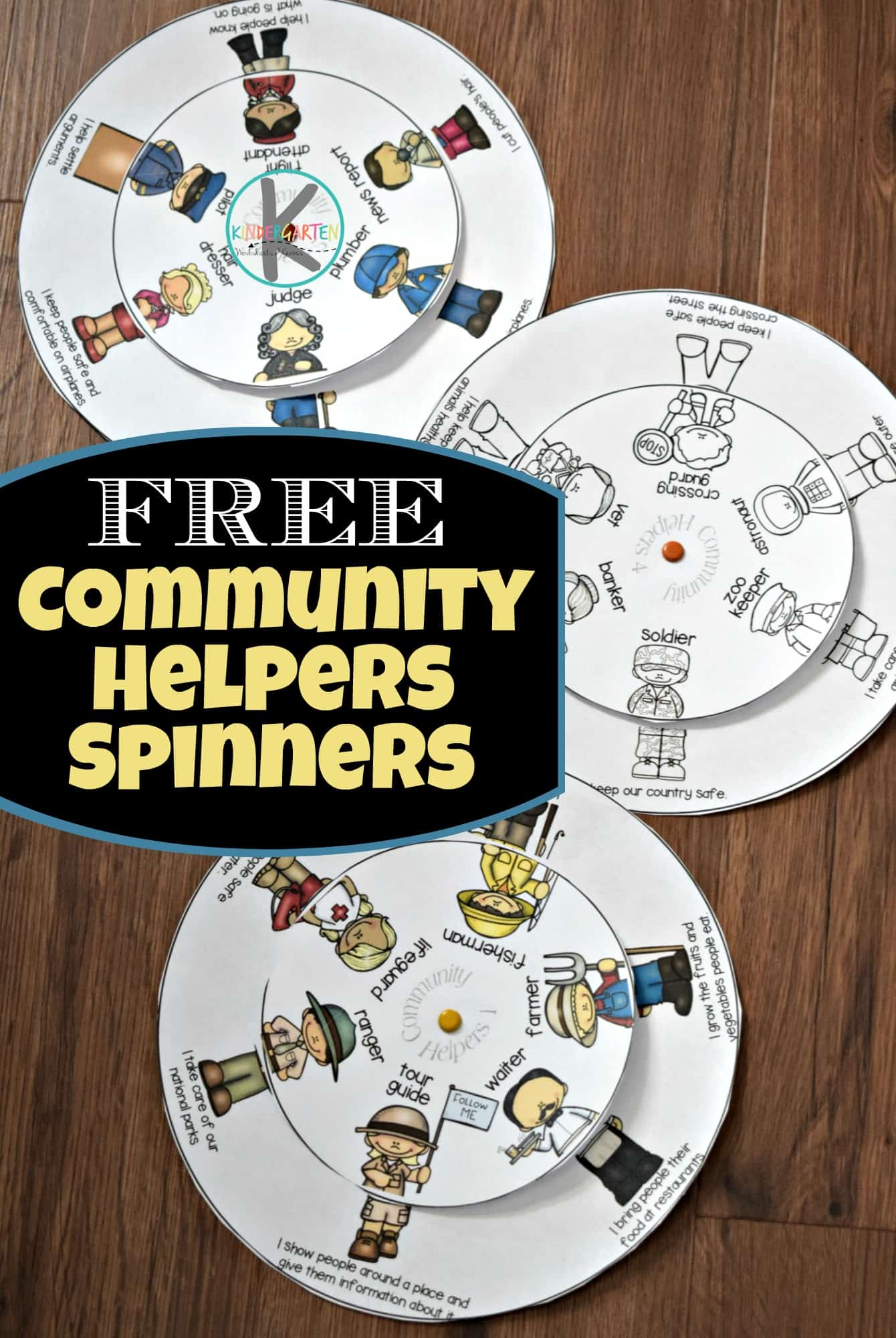 Free Community Helpers Printable Wheel Kindergarten