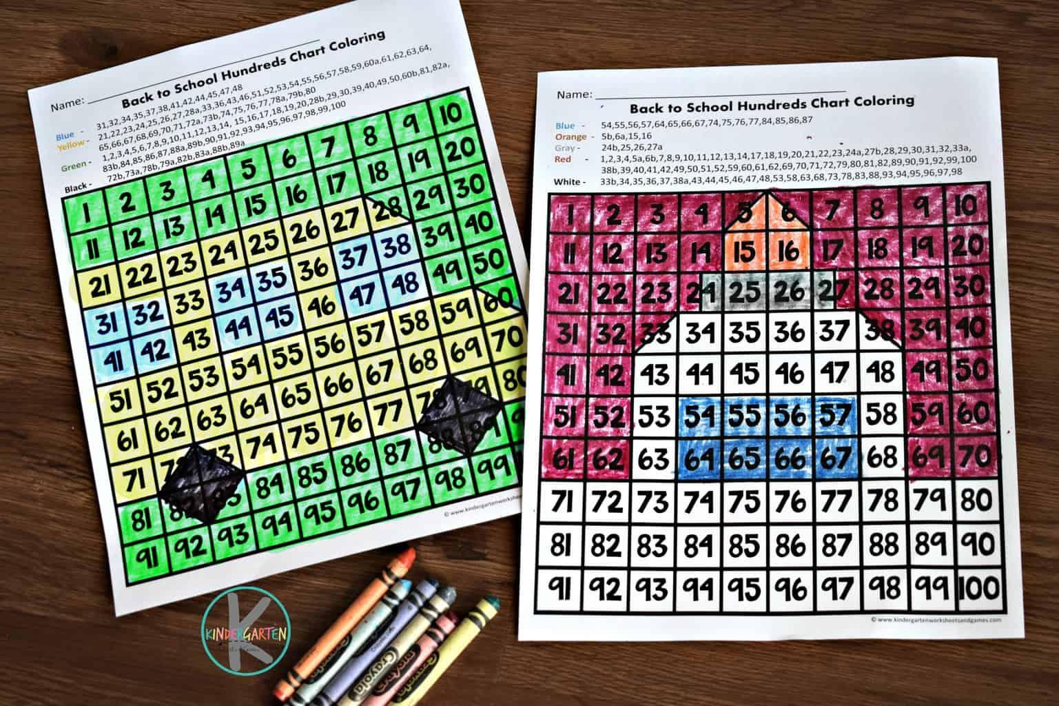 Back To School Interactive Hundreds Chart Kindergarten