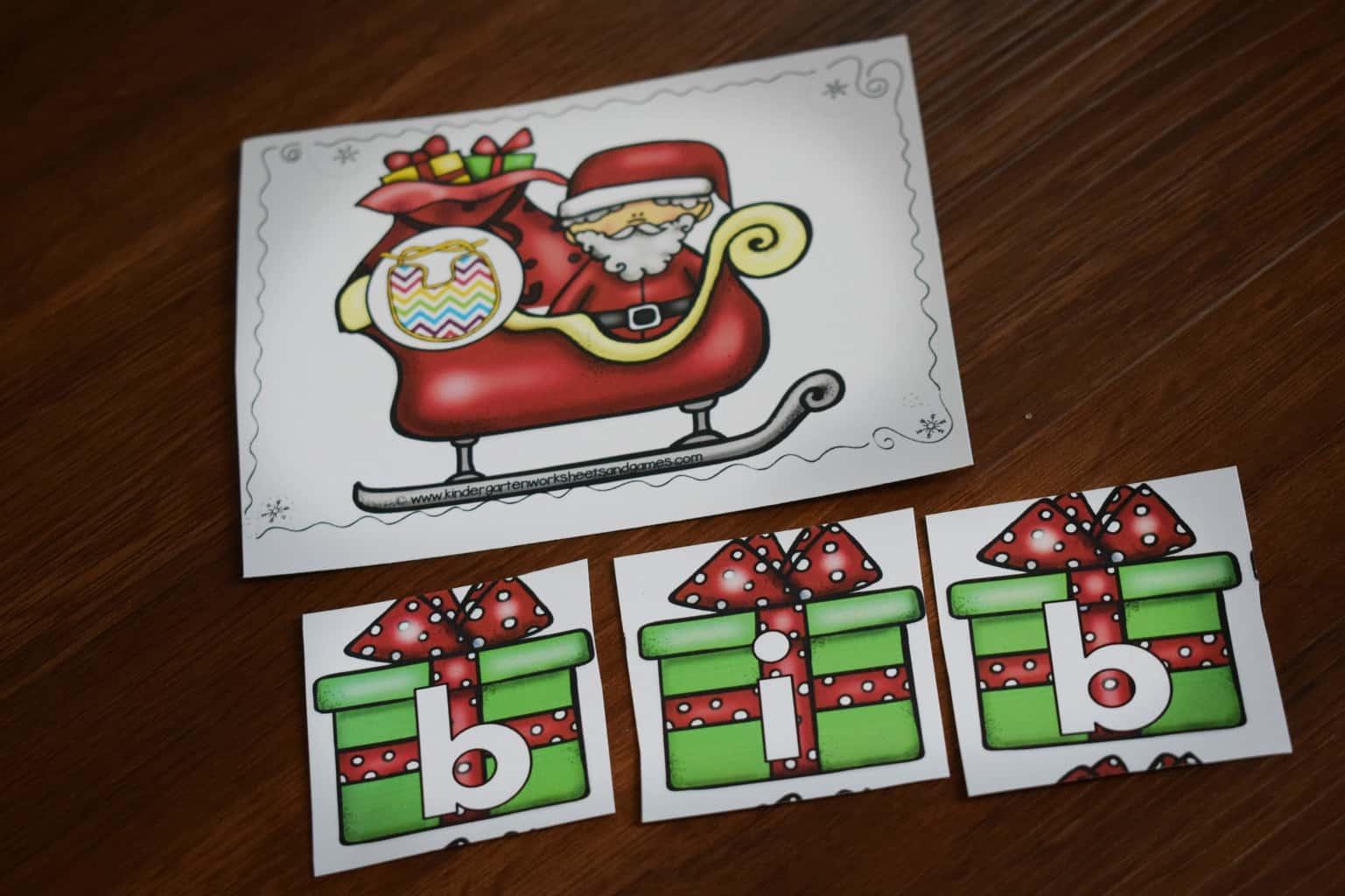 Christmas Cvc Words On Santa S Sleigh Kindergarten