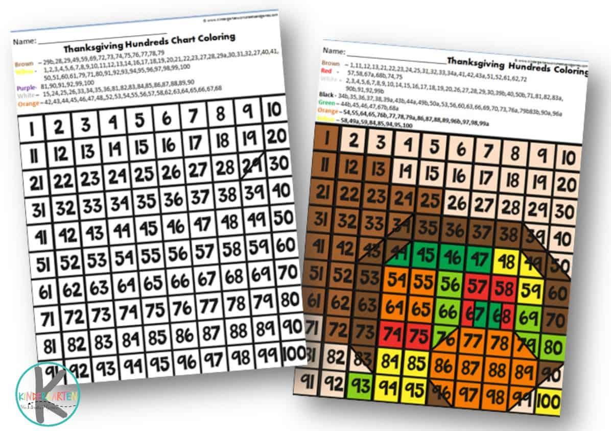Free Thanksgiving Hundreds Chart Kindergarten Worksheets