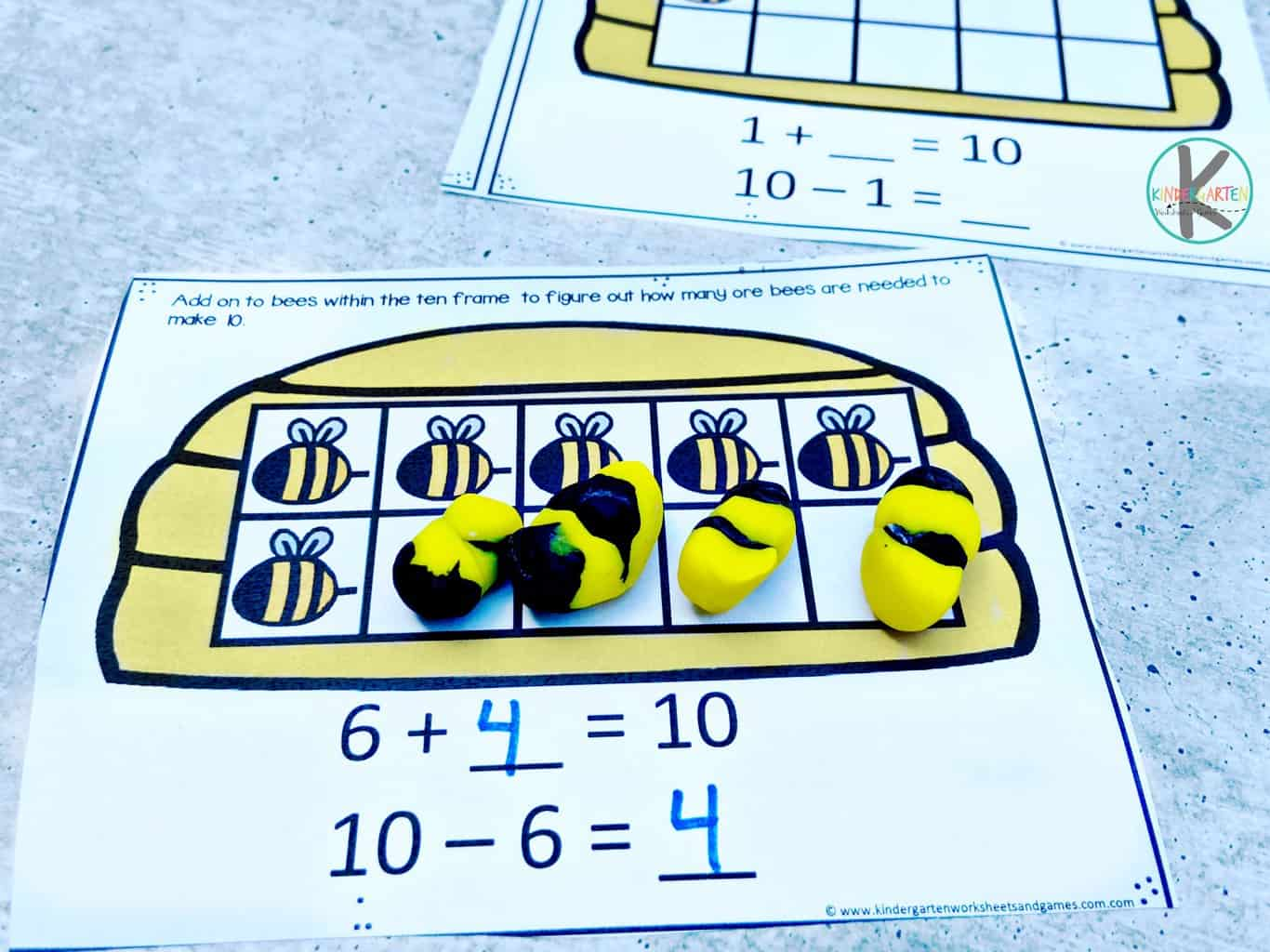 Free Bee Ten Frame Math