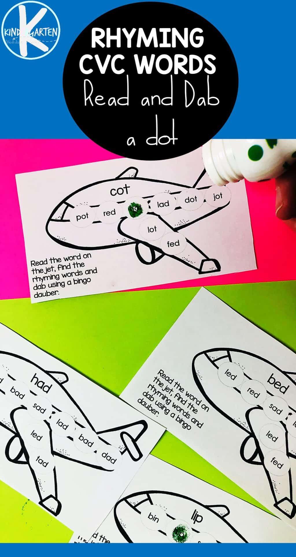 Free Plane Rhyming Cvc Words Do A Dot Printables