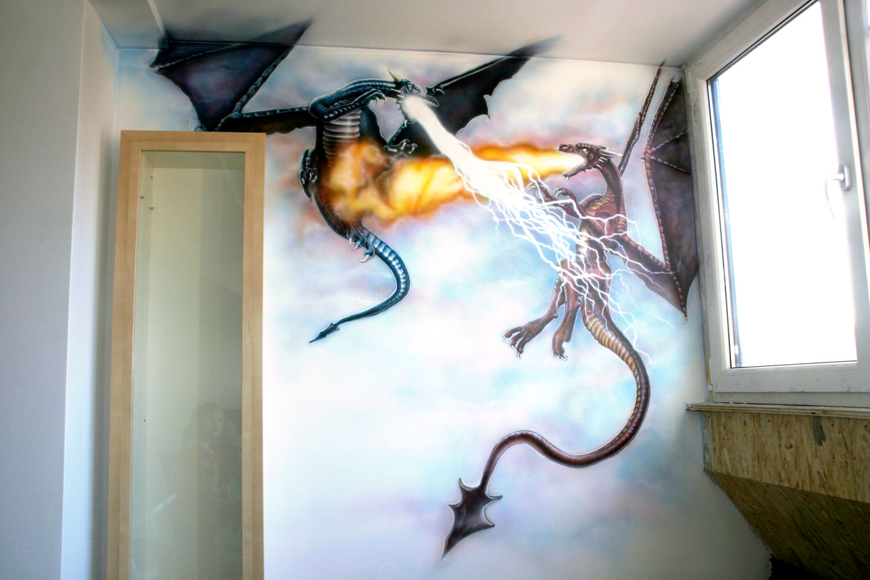Draken muurschildering in kinderkamer op zolder