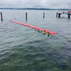 Schwimmkurs bei rauem Wetter