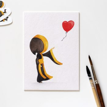 Münchner Kindl Postkarte – Herz-Luftballon