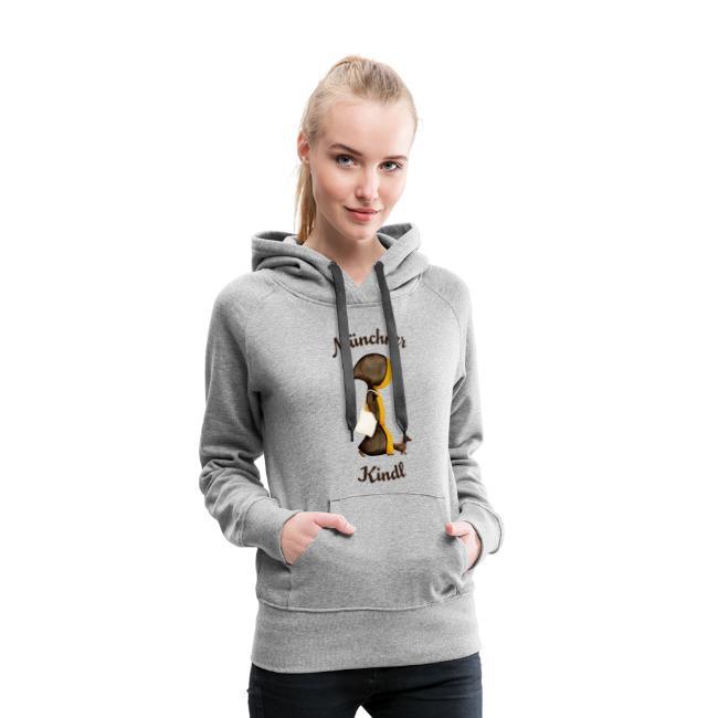Münchner Kindl Hoodie - Stofftasche und Dackel - Damen, grau