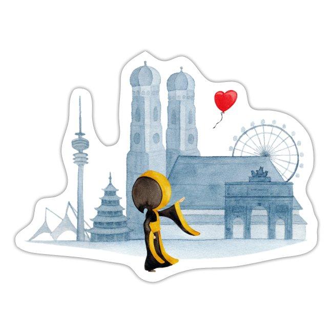 Münchner Kindl Aufkleber - Skyline, München mit Herz - Sticker