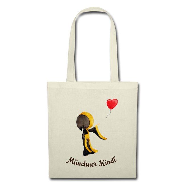 Münchner Kindl Stofftasche - Herz-Luftballon