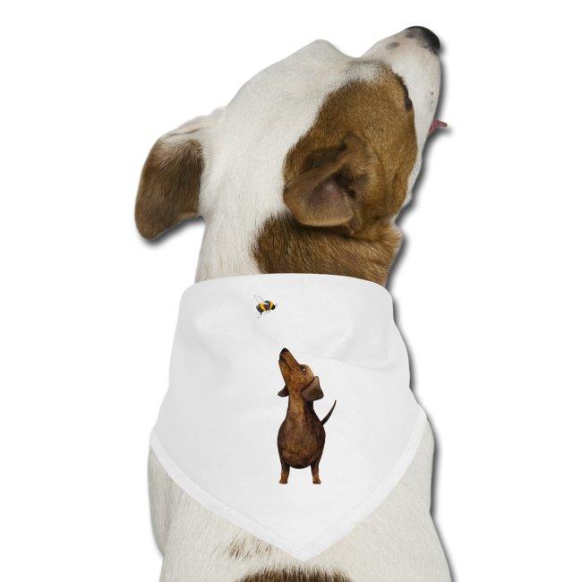 Münchner Kindl Hunde Bandana Halstuch - Dackel mit Hummel