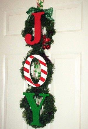 DIY J-O-Y Christmas Wreath
