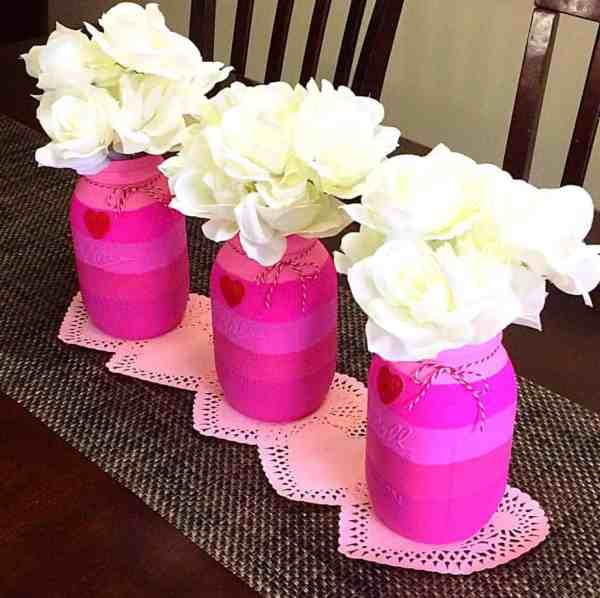 Pink Ombre Valentine's Day Mason Jars (D-I-Y)