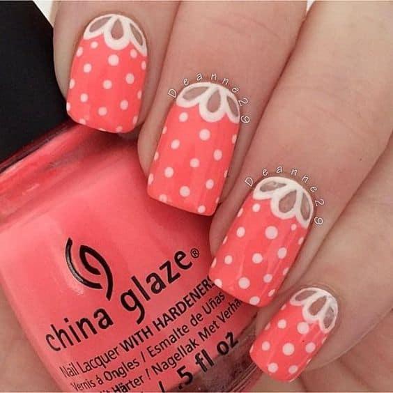 Coral Polka Dot Nails