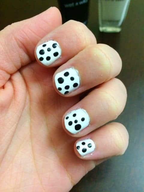 DIY Black and White Polka Dot Nails