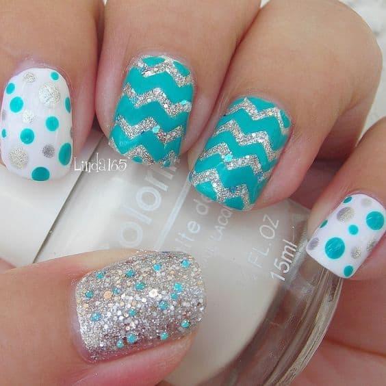 Blue Chevron and Polka Dot Nails