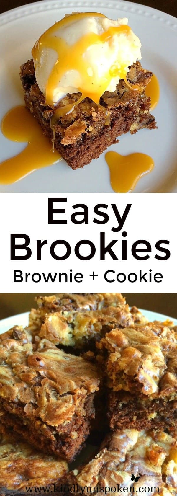 Easy Chocolate Chip Brookies (Brownies + Cookies) - The perfect, delicious, decadent treat for when you can't decide between cookies and brownies!
