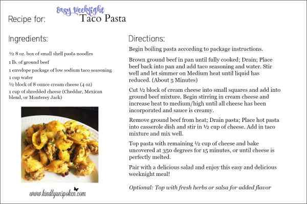 Easy Weeknight Taco Pasta Recipe