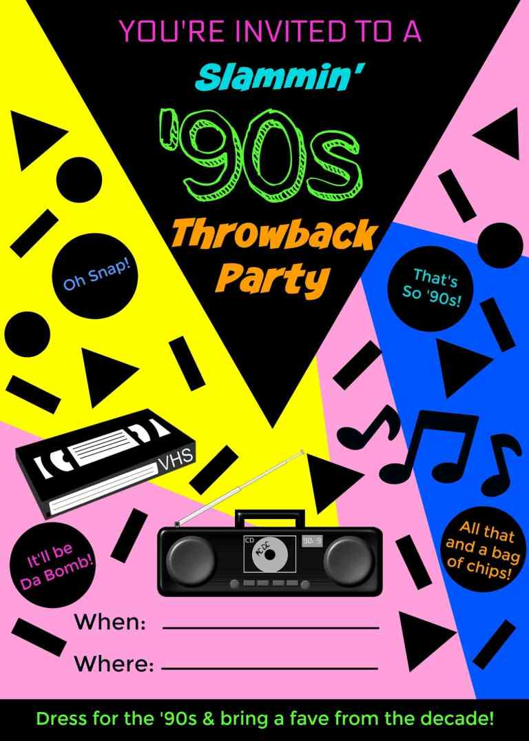 '90s Throwback Party Invitation