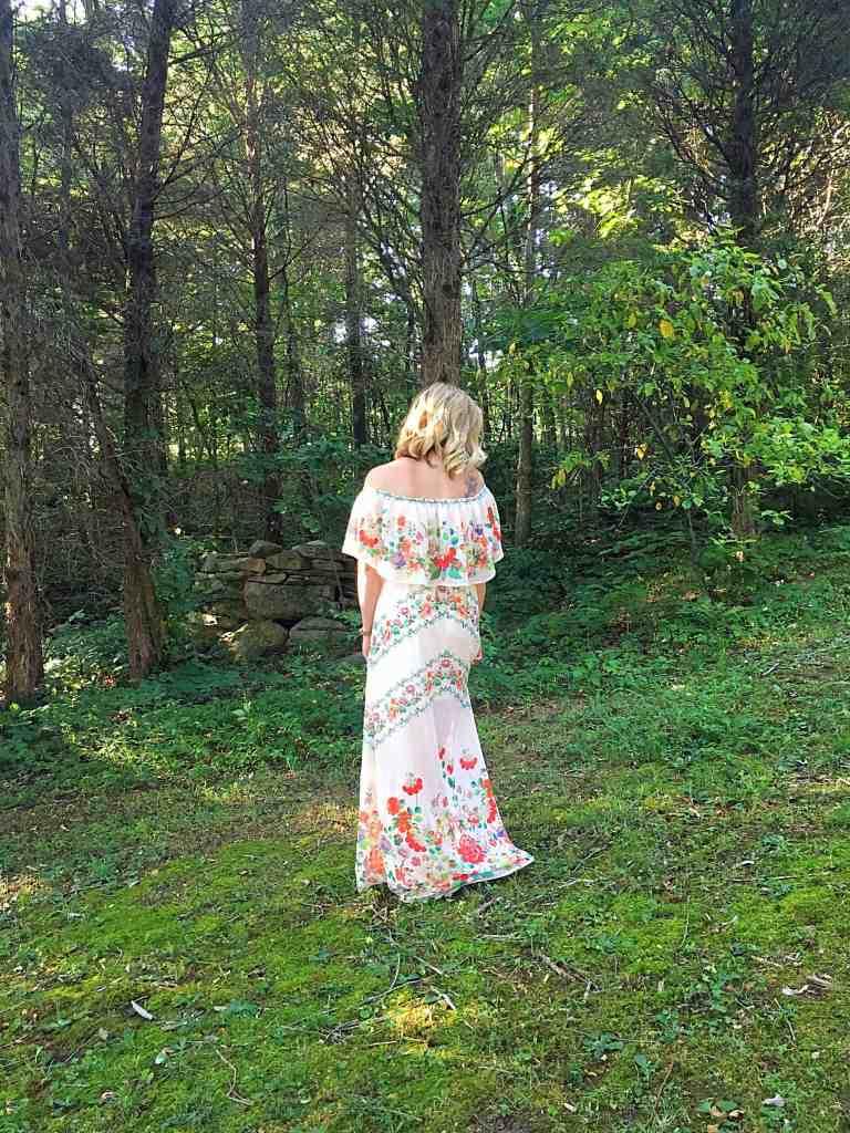 White Floral Off-the-Shoulder Maxi Dress
