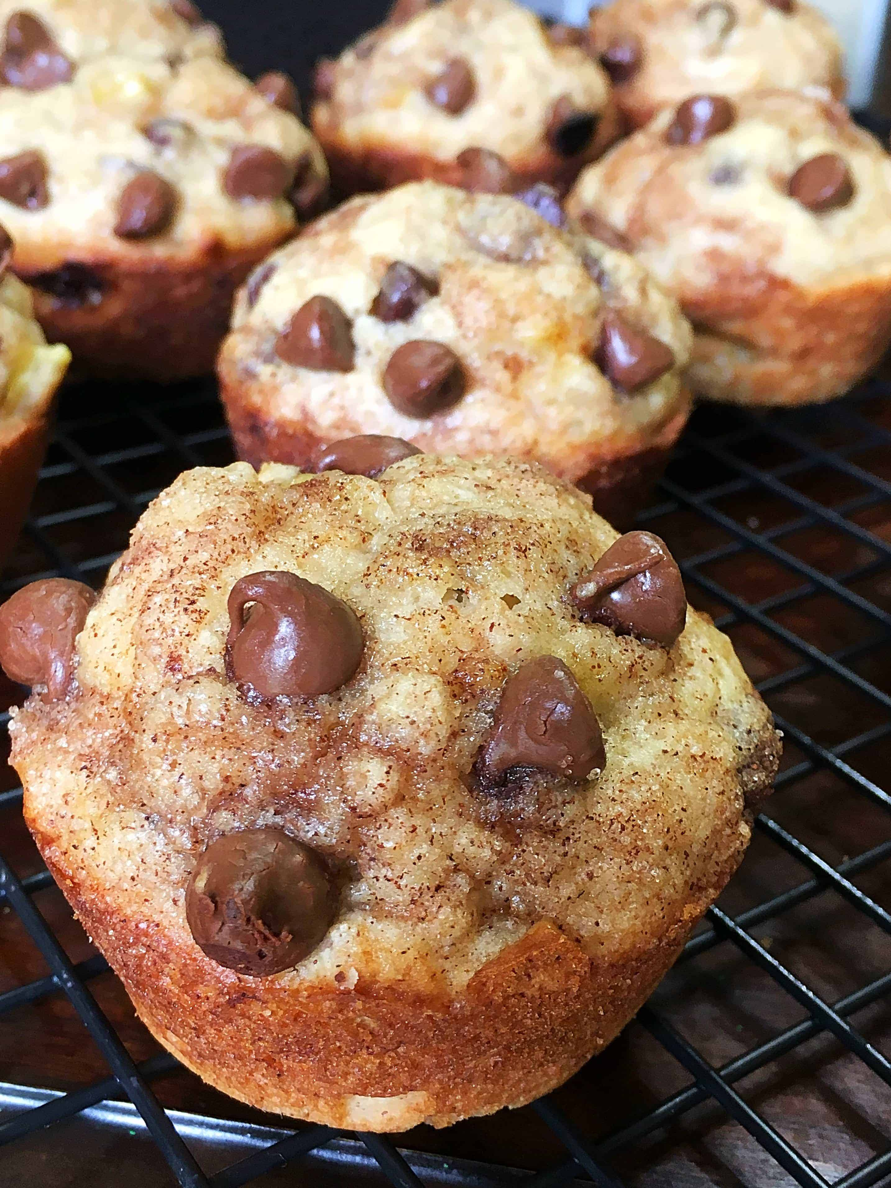 Cinnamon Sugar Chocolate Chip Banana Muffins- the most delicious, decadent breakfast treat with all the right flavors!
