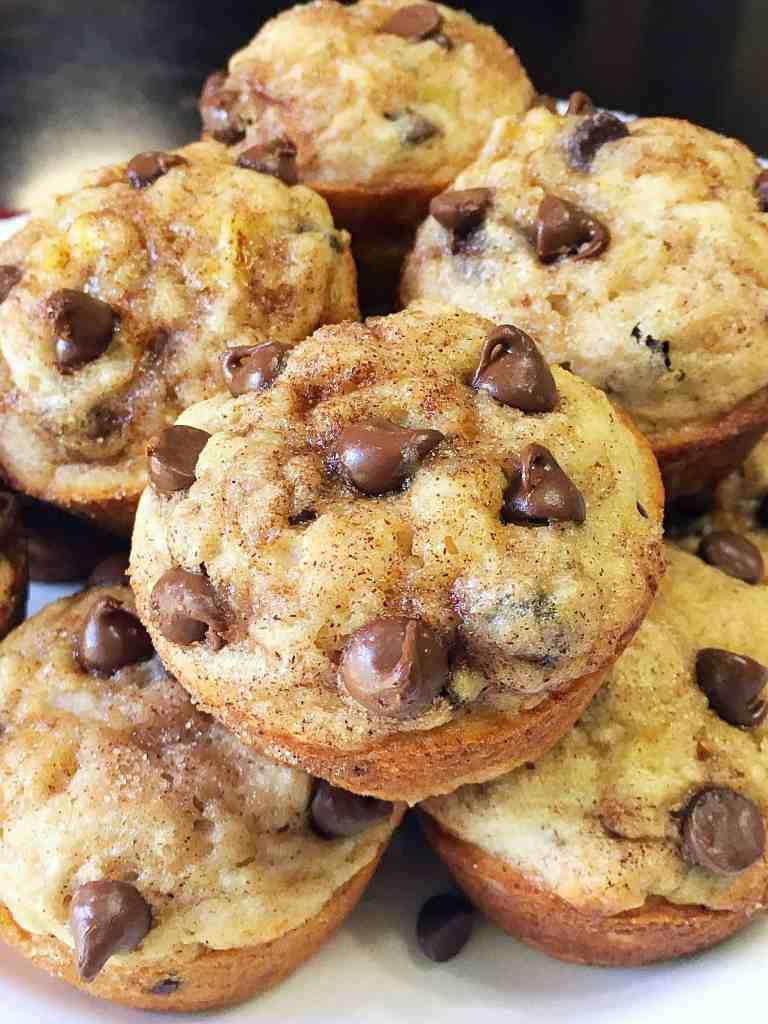 Cinnamon Sugar Chocolate Chip Banana Muffins