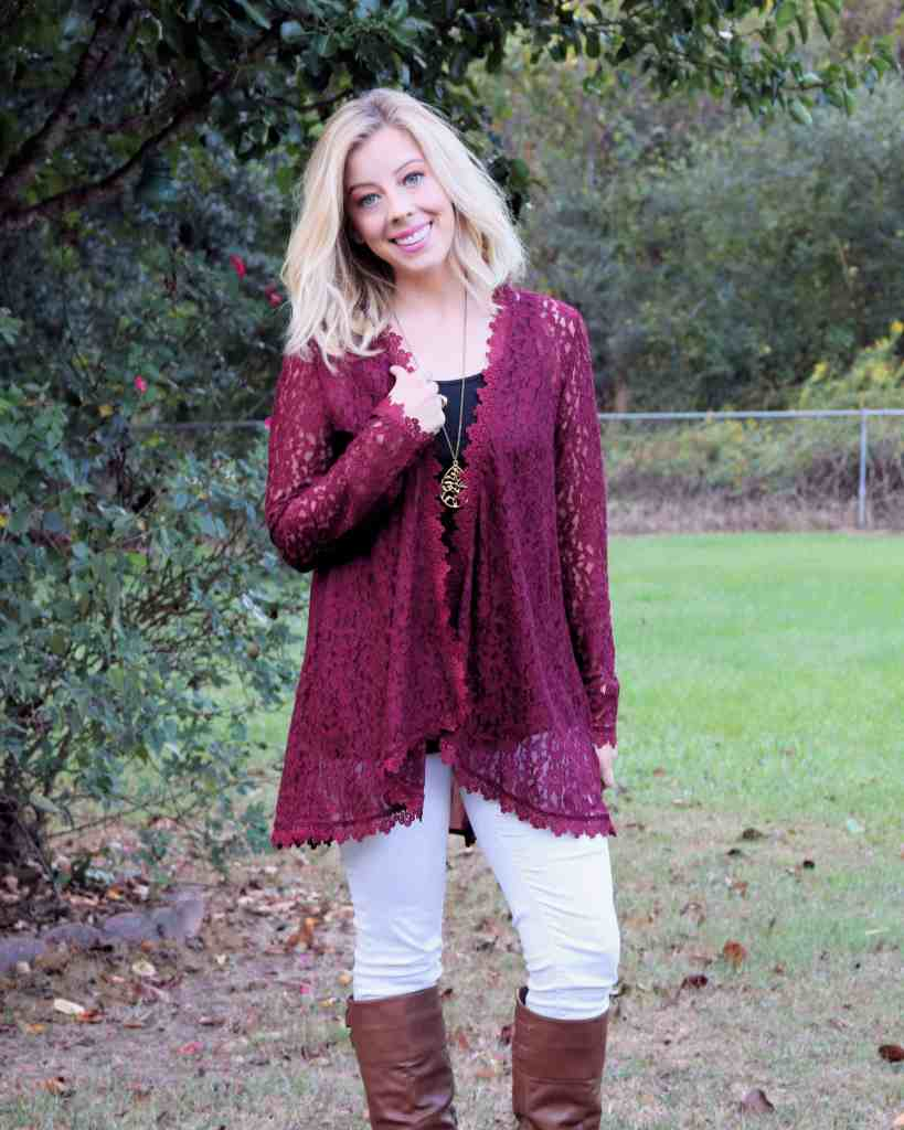 Burgundy Lace Kimono + Lessons on Patience