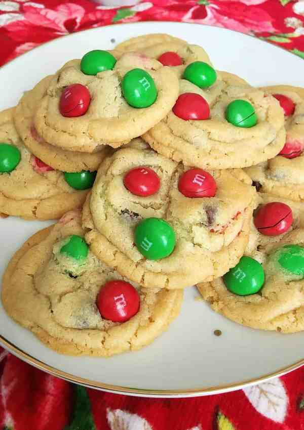 Magical Peanut Butter M&M Christmas Cookies
